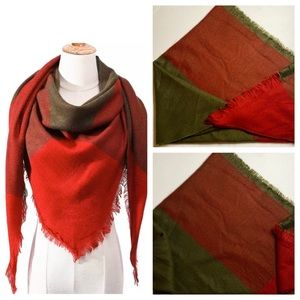 Red & Green Cotton Blend Blanket Scarf